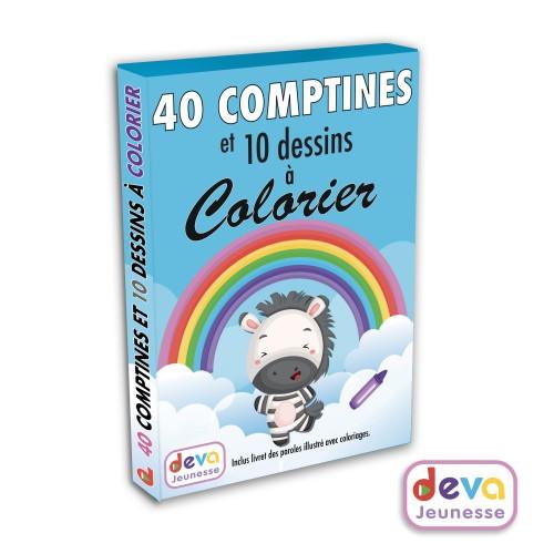 40 comptines à colorier - 2CD + Livre imagé en couleurs