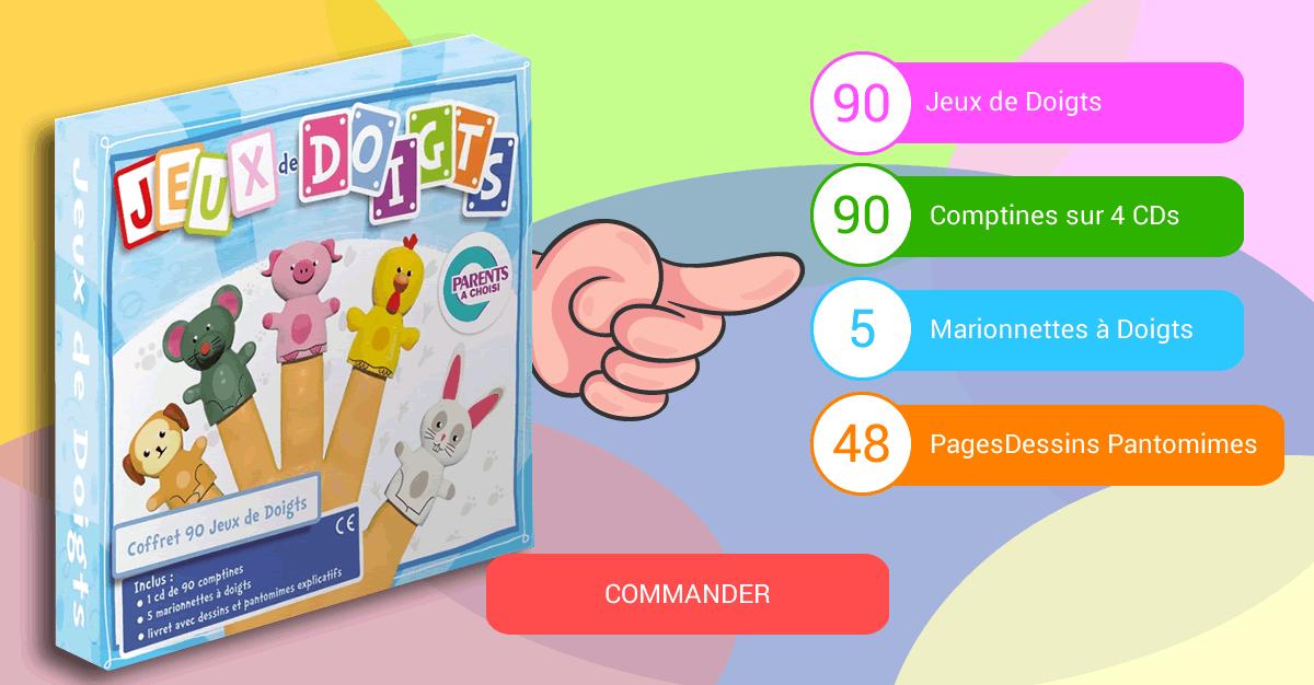 Coffret Jeux de Doigts : 4CD de 90 comptines + Livret + 5 marionnettes + 1CD offert en cadeau supplémentaire